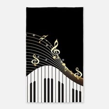 Ivory Keys Piano Music 3'x5' Area Rug