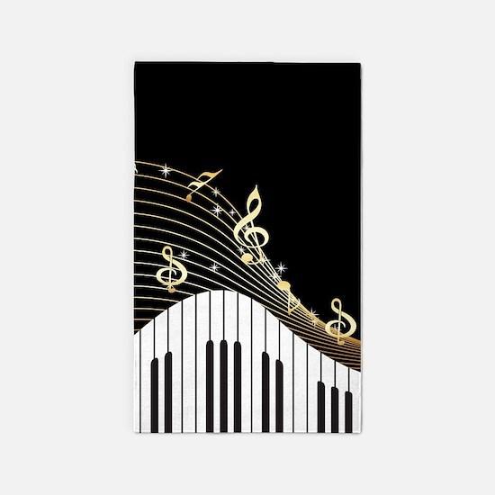 Ivory Keys Piano Music 3'x5' Area Rug