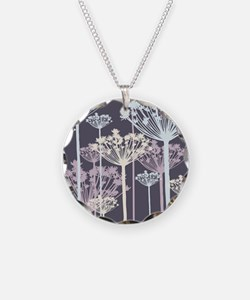 Blue, White, and Purple Dandelions Necklace