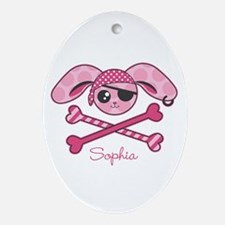 Pirate Bunny Oval Ornament