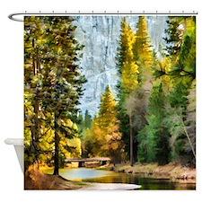 Peaceful Mountain River Shower Curtain