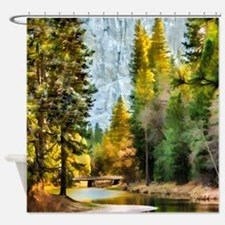Peaceful Mountain River Shower Curtain