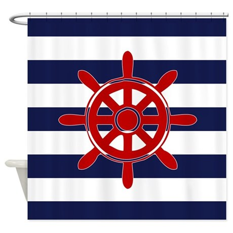 Navy Blue Nautical Stripes And Red Shower Curtain By