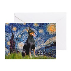 Starry Night Doberman Greeting Card