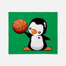 Basketball Penguin Throw Blanket