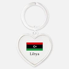 Libya Flag Heart Keychain