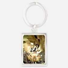 Clef on colorful background Keychains