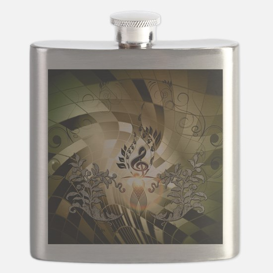 Clef on colorful background Flask