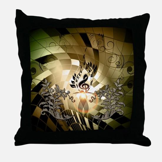Clef on colorful background Throw Pillow