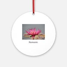 Magenta Water Lily Namaste Round Ornament