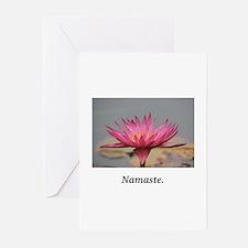 Magenta Water Lily Namaste Greeting Cards