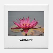 Magenta Water Lily Namaste Tile Coaster
