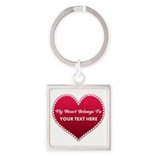 Custom Heart Belongs To Square Keychain