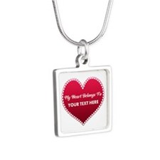 Custom Heart Belongs To Silver Square Necklace