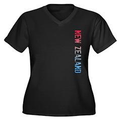 New Zealand Women's Plus Size V-Neck Dark T-Shirt