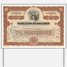 VEPCO (Va electric) stock certificate Yard Sign