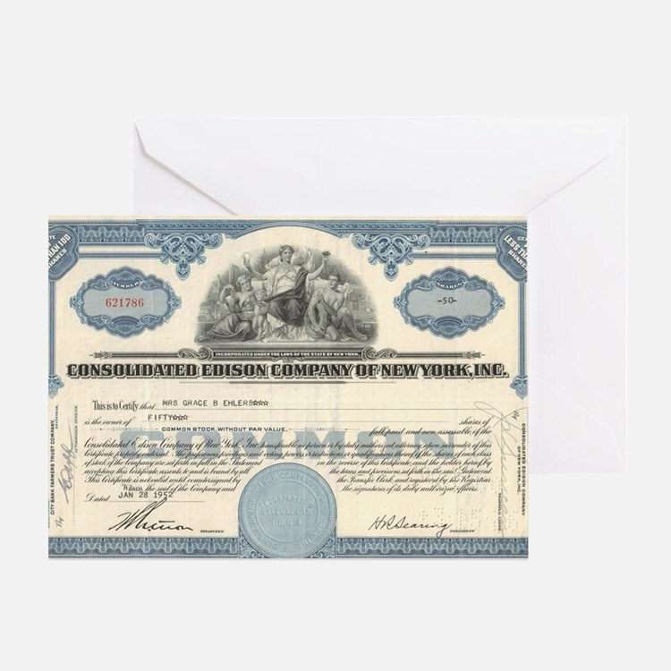 Con Ed stock certificate Greeting Card