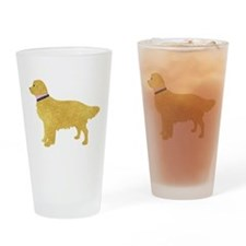 Preppy Golden Retriever Drinking Glass