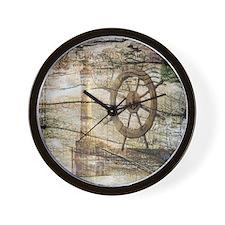 shabby chic beach lighthouse Wall Clock