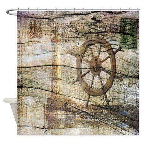shabby chic beach lighthouse shower curtain