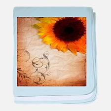 girly swirls floral sunflower baby blanket