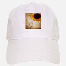 girly swirls floral sunflower Baseball Baseball Cap