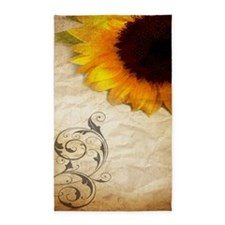 girly swirls floral sunflower Area Rug