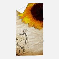 girly swirls floral sunflower Beach Towel