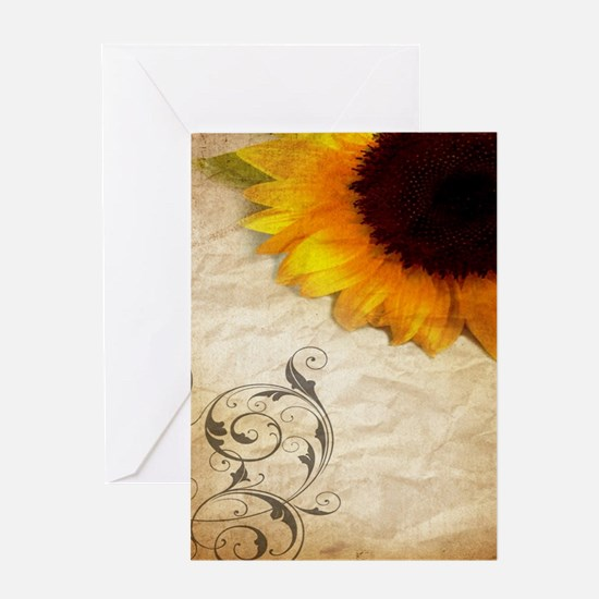 girly swirls floral sunflower Greeting Cards