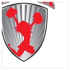 Cheer Shield In Red and Silver Canvas Art