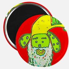 Cute Christmas Surprise Santa Dog Designer Magnets