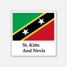 "St. Kitts And Nevis Flag Square Sticker 3"" x 3"""