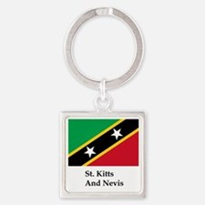 St. Kitts And Nevis Flag Square Keychain