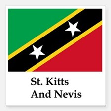 """St. Kitts And Nevis Flag Square Car Magnet 3"""" x 3"""""""