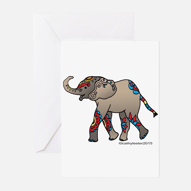 Zentangle Elephant Greeting Cards (Pk of 10)