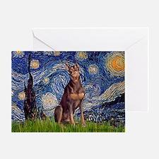 Starry / Red Doberman Greeting Card