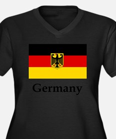 Germany Flag Women's Plus Size V-Neck Dark T-Shirt