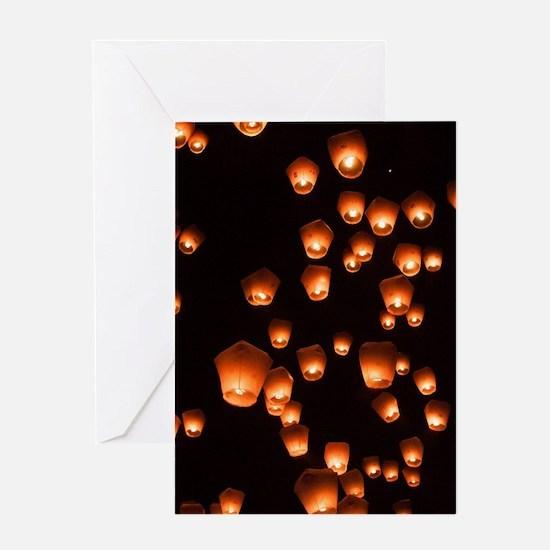 Sky Lanterns Greeting Cards