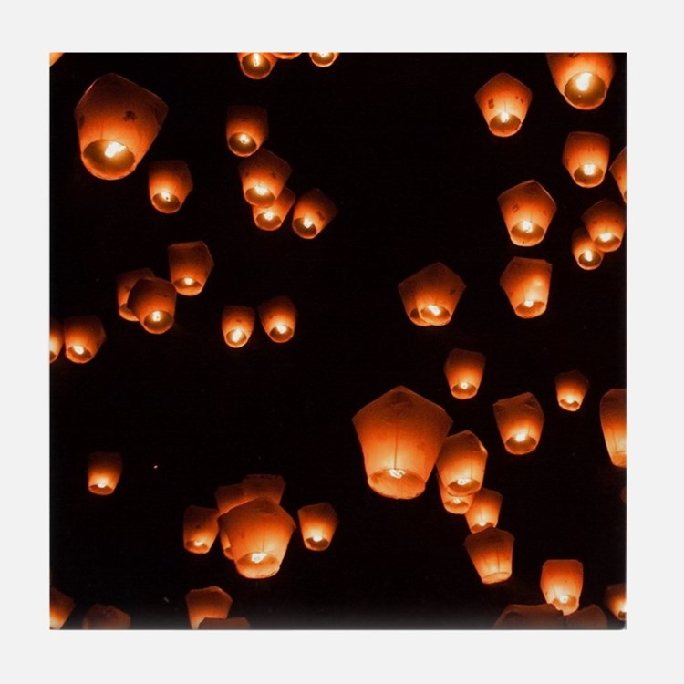 Sky Lanterns Tile Coaster