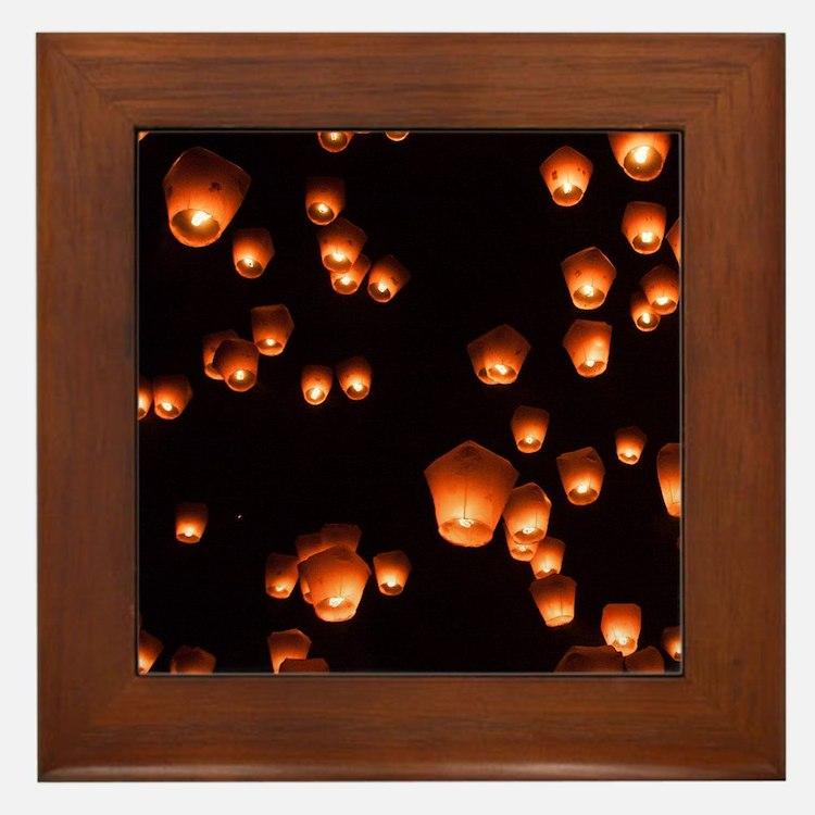 Sky Lanterns Framed Tile