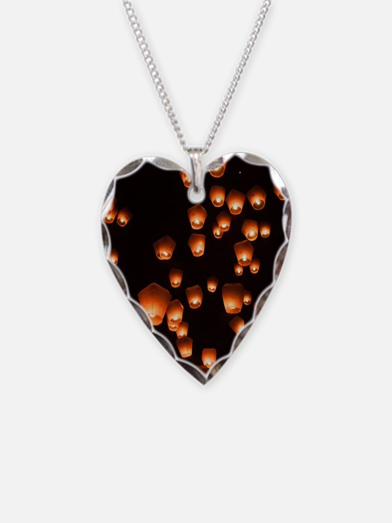 Sky Lanterns Necklace Heart Charm