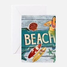 hipster surfer hawaii beach Greeting Cards