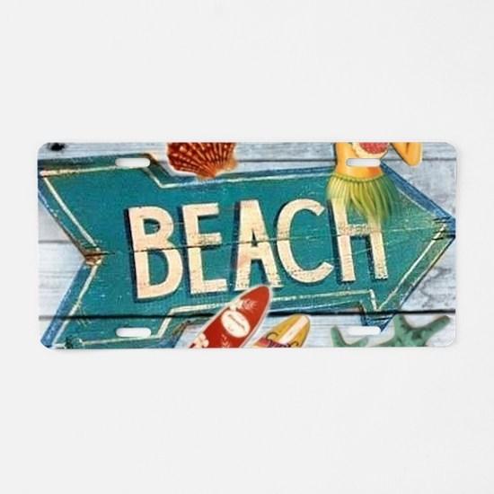 hipster surfer hawaii beach Aluminum License Plate