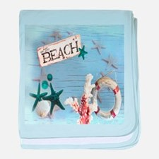 beach coral sea shells baby blanket
