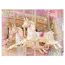 Merry-go-round pink Canvas Art