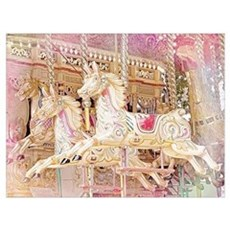 Merry-go-round pink Poster