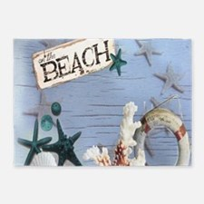 beach coral sea shells 5'x7'Area Rug