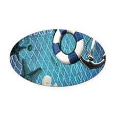 nautical fisherman sea shells Oval Car Magnet