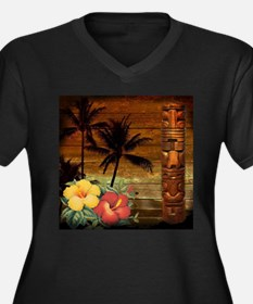 totem Hawaiian Hibiscus Flower Plus Size T-Shirt
