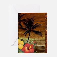 totem Hawaiian Hibiscus Flower Greeting Cards